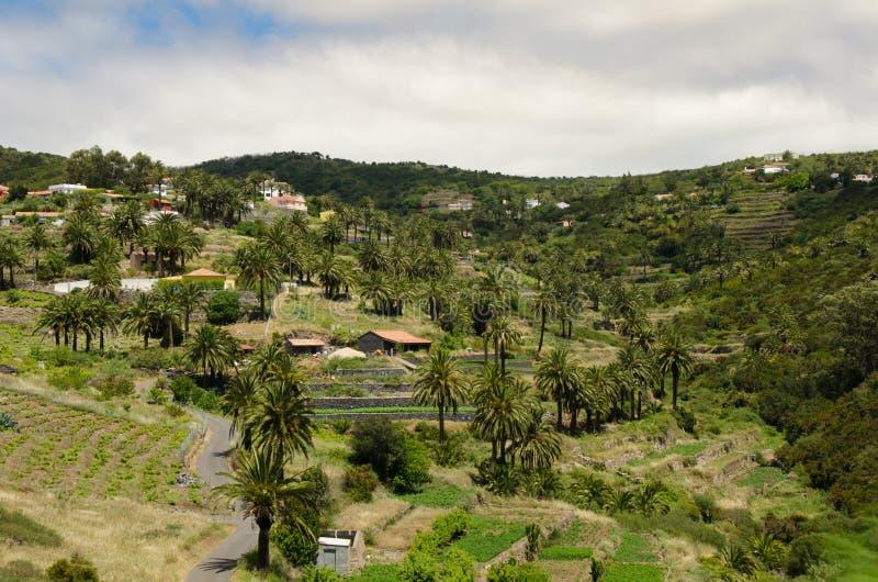 Landschapsmening over de vallei dichtbij de stad van Valle Gran Rey royalty-vrije stock foto