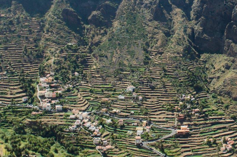 Landschapsmening over de vallei van Valle Gran Rey royalty-vrije stock afbeelding