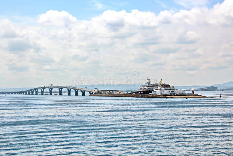 Landschapsmening van de kustlijn en de wateren van de haven de Baai van van Chiba, Tokyo japan royalty-vrije stock foto