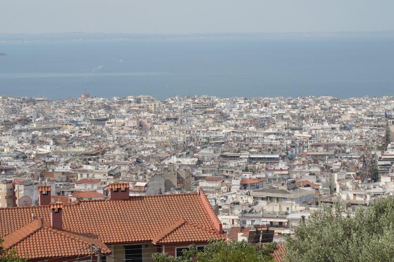 Landschapsmening van Thessaloniki stad royalty-vrije stock foto