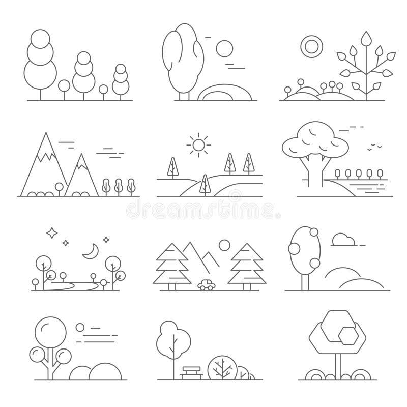 Landschapsoverzicht Monolijnsymbolen van bomen en openluchtparken stock illustratie