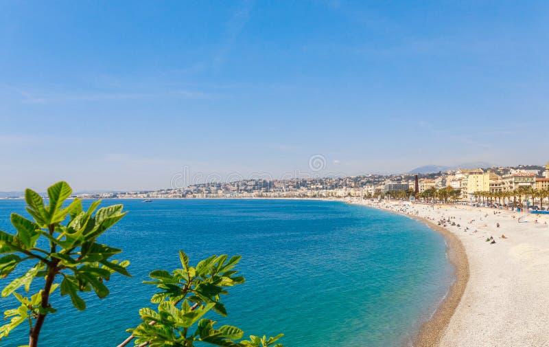 Landschapspanorama van Nice, Kooi D ?Azur, Frankrijk, Zuid-Europa Mooie stad en luxetoevlucht van Franse riviera beroemd royalty-vrije stock fotografie
