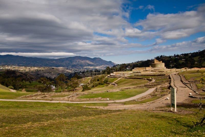 Landschapsschot van belangrijke incaruïnes van Ingapirca stock foto's