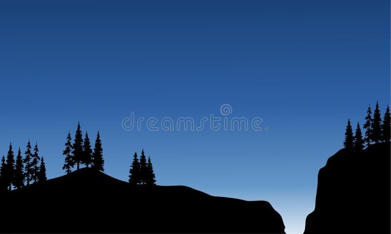 Landschapssparren in klip van silhouet stock illustratie
