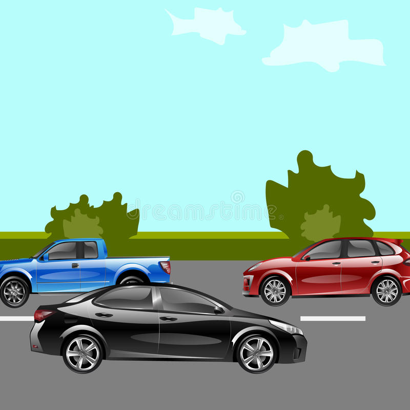 Landschapsstraat met auto's royalty-vrije illustratie