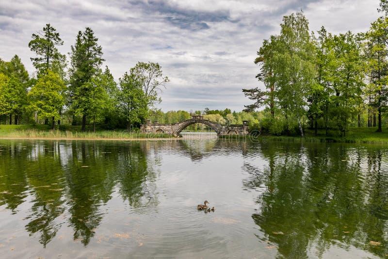Landschapsweergeven van Gatchina-Park royalty-vrije stock afbeelding