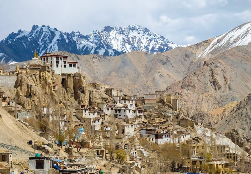 Landscpae of Lamayuru monastery in Ladakh, India royalty free stock image