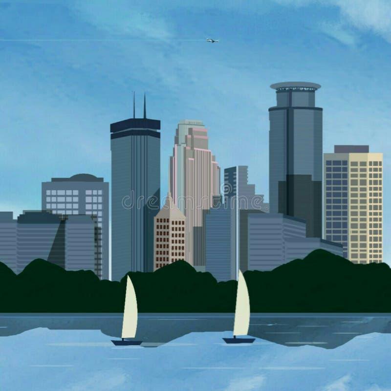 Landscspe dell'orizzonte di Minneapolis illustrazione di stock