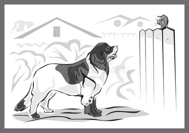 Landseer Hund und Kätzchen vektor abbildung