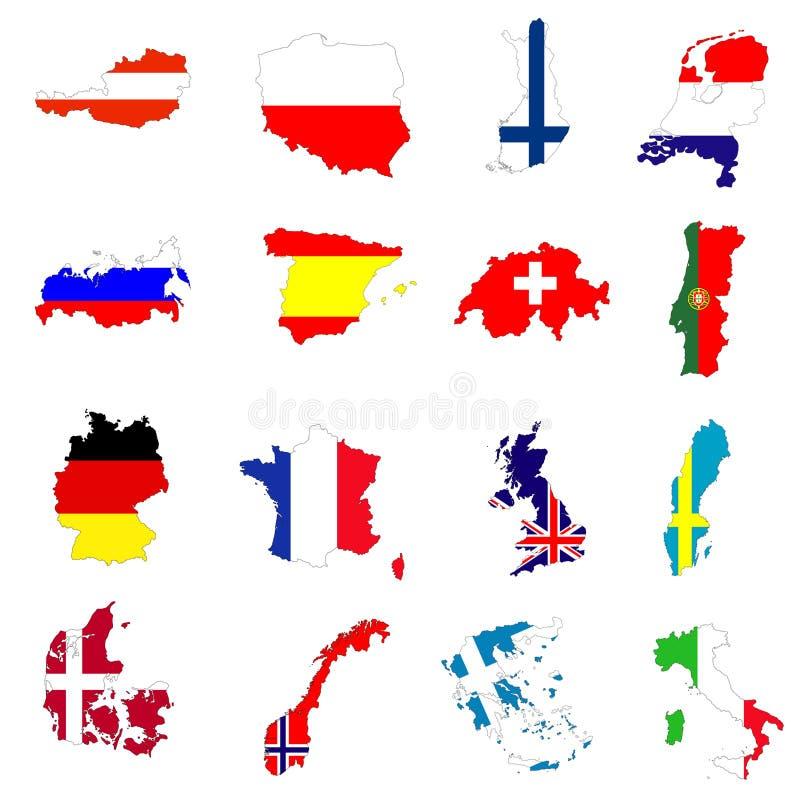 landseuropeanöversikter royaltyfri illustrationer