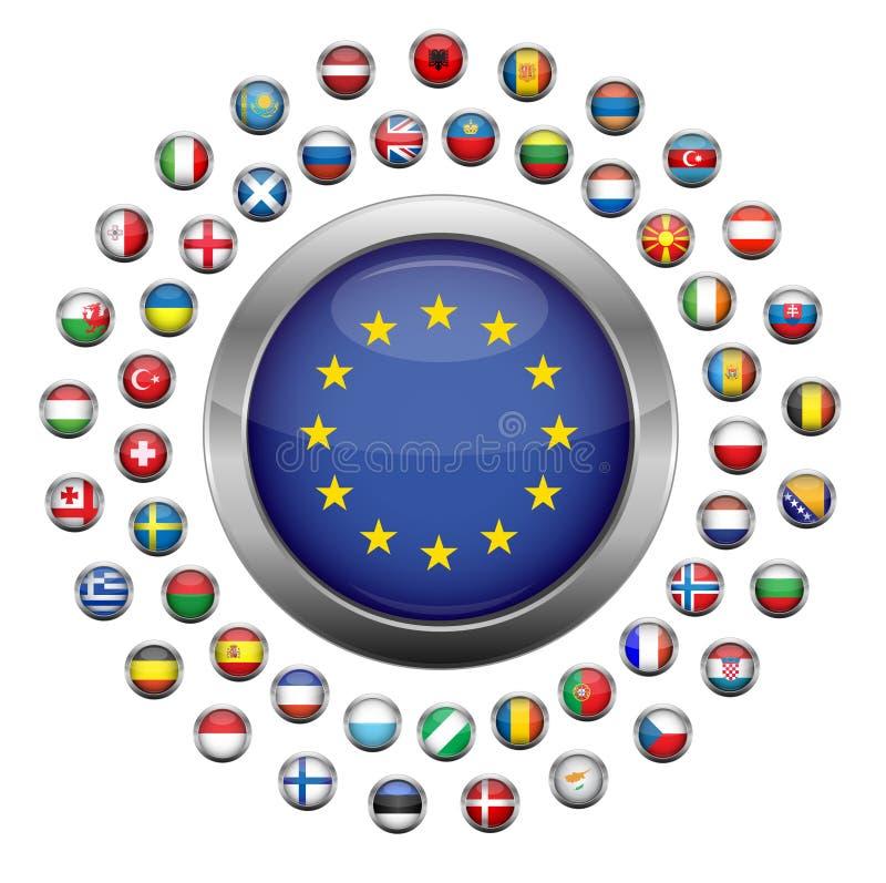 landseuropeanflaggor stock illustrationer