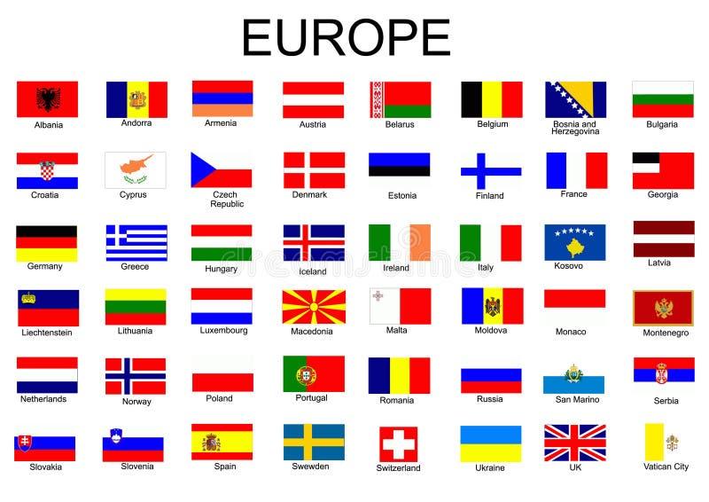 landseuropeanflaggor royaltyfri illustrationer