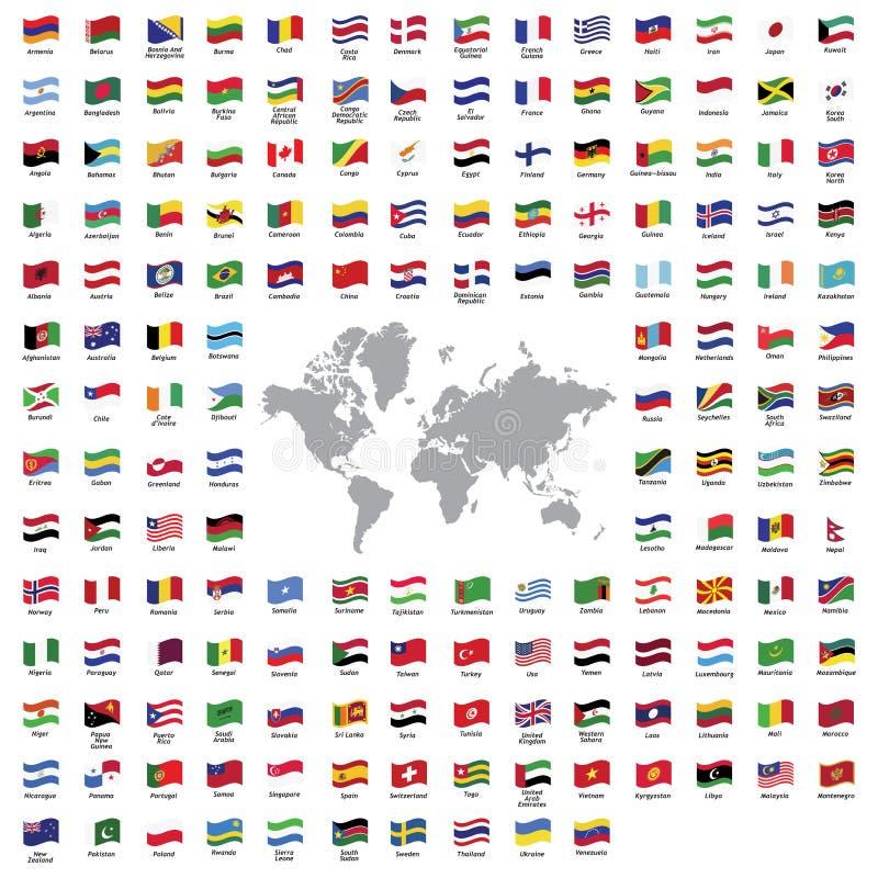 Landsflaggor royaltyfri illustrationer
