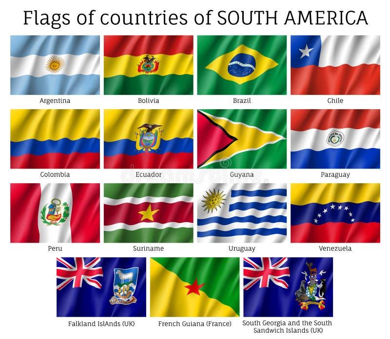 Landsflaggor av den Sydamerika kontinenten royaltyfri illustrationer