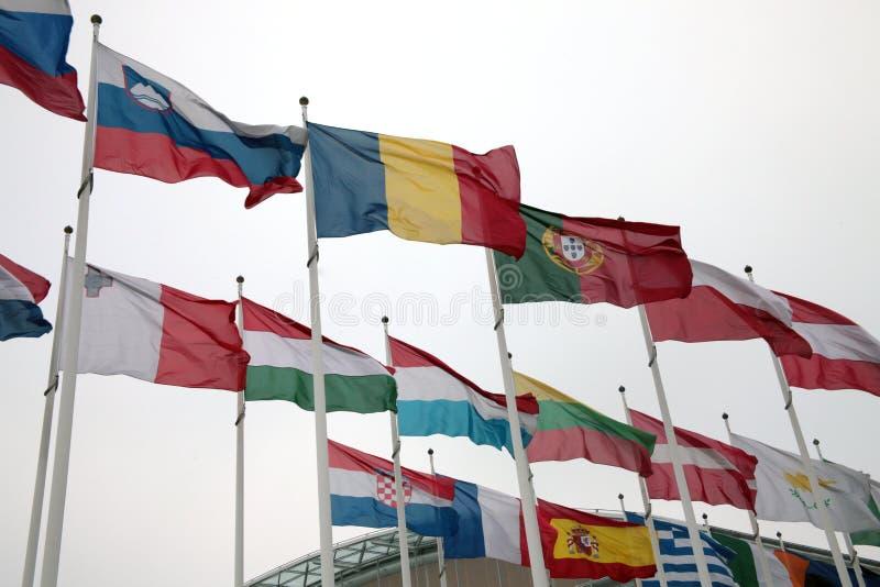 Landsflaggor för europeisk union royaltyfria foton