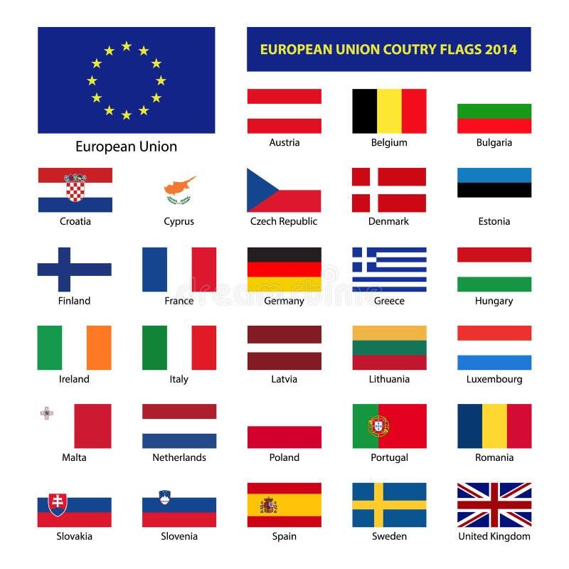 Landsflaggor 2014 för europeisk union royaltyfri illustrationer
