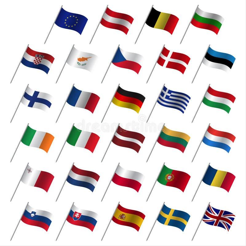 Landsflaggor 2017, medlemsstatEU för europeisk union stock illustrationer