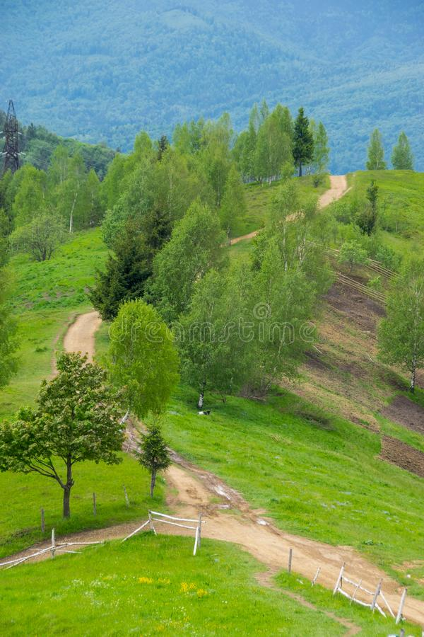 Landsgrusväg i berg arkivfoto