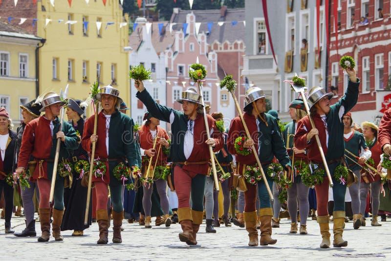 Landshut, Landshuter, nozze, Baviera più bassa, Germania, Europa, spettacolo, parata, giochi, festival, festività, celebrazione,  fotografia stock libera da diritti