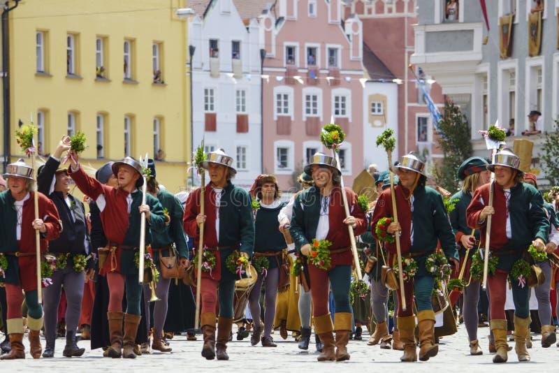 Landshut, Landshuter, nozze, Baviera più bassa, Germania, Europa, spettacolo, parata, giochi, festival, festività, celebrazione,  fotografia stock