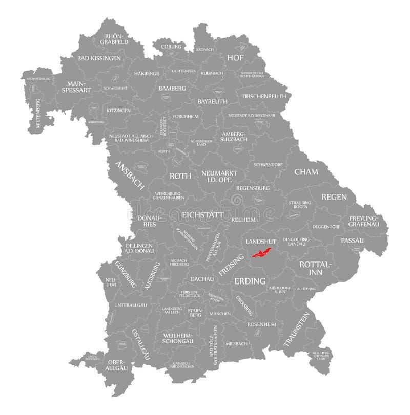 Landshut miasta czerwień podkreślająca w mapie Bavaria Niemcy ilustracji