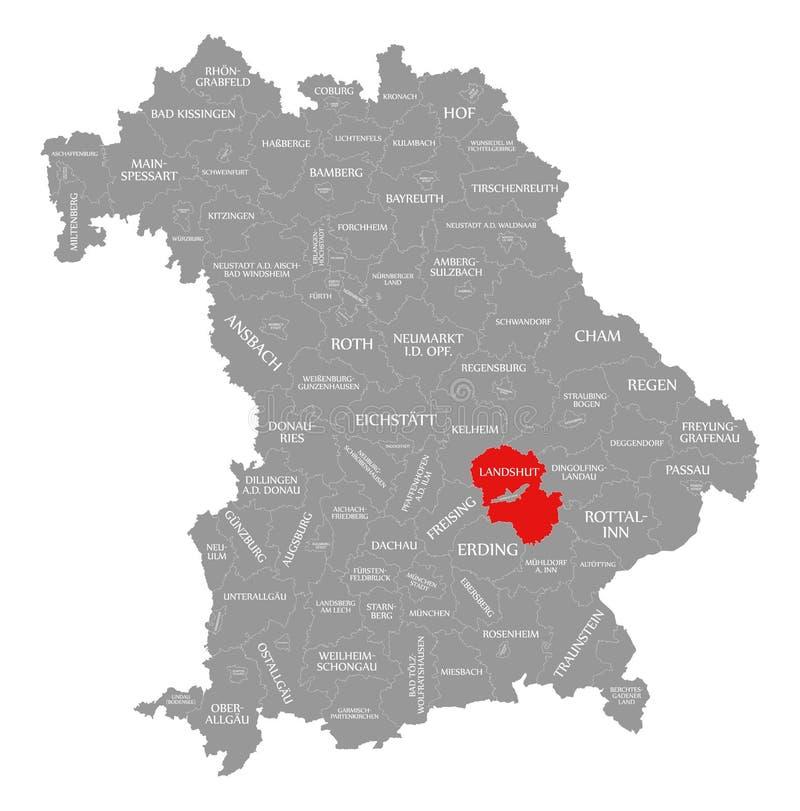 Landshut okręgu administracyjnego czerwień podkreślająca w mapie Bavaria Niemcy ilustracja wektor