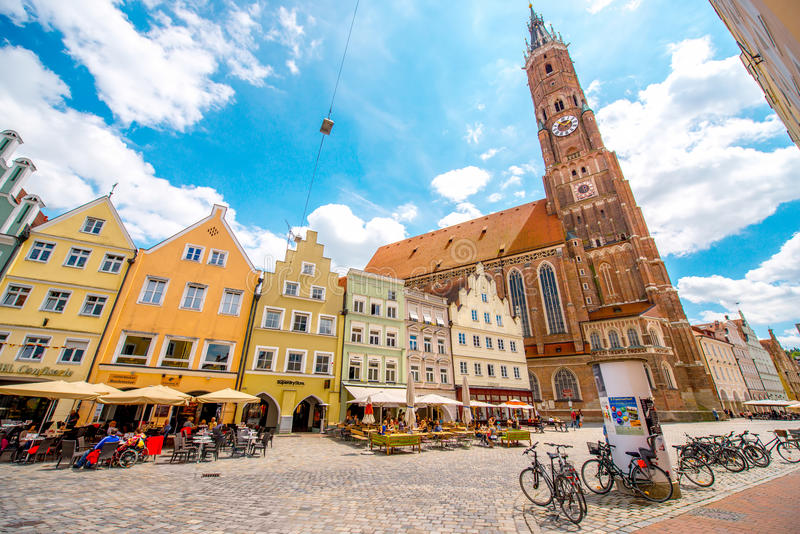 Landshut old town in Germany stock photography