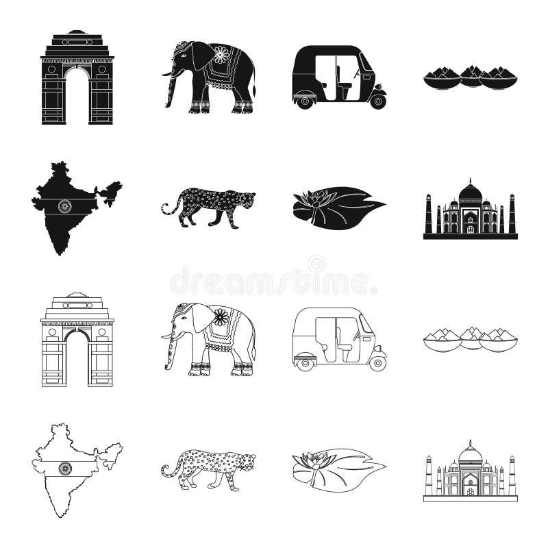 LandsIndien svart, översiktssymboler i uppsättningsamlingen för design Det Indien och gränsmärkevektorsymbolet lagerför rengöring royaltyfri illustrationer