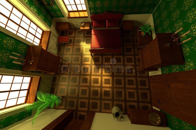 Landsitzinnenraum - Schlafzimmer lizenzfreie abbildung