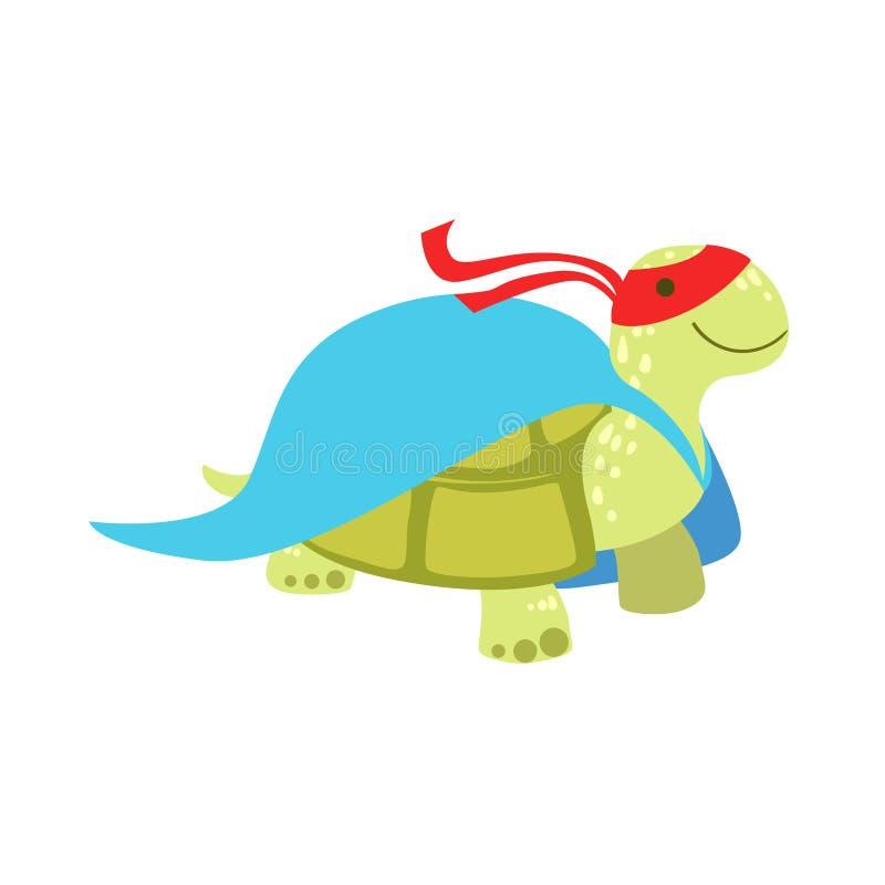 Landsköldpaddadjur som kläs som Superhero med maskerat vigilantetecken för udde ett komiker royaltyfri illustrationer