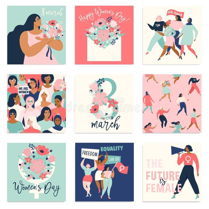 Landskampkvinna dag Vektormallar för kort, affisch, reklamblad och andra användare royaltyfri illustrationer