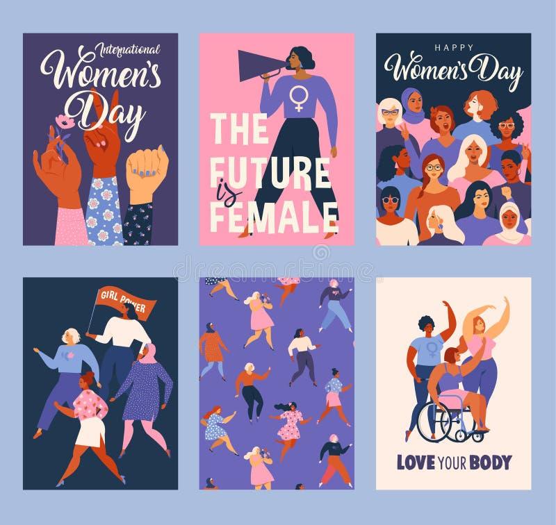 Landskampkvinna dag Vektormallar för kort, affisch, reklamblad och andra användare stock illustrationer