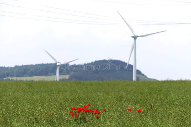 Landskap av alternativ energi i Tyskland arkivbild