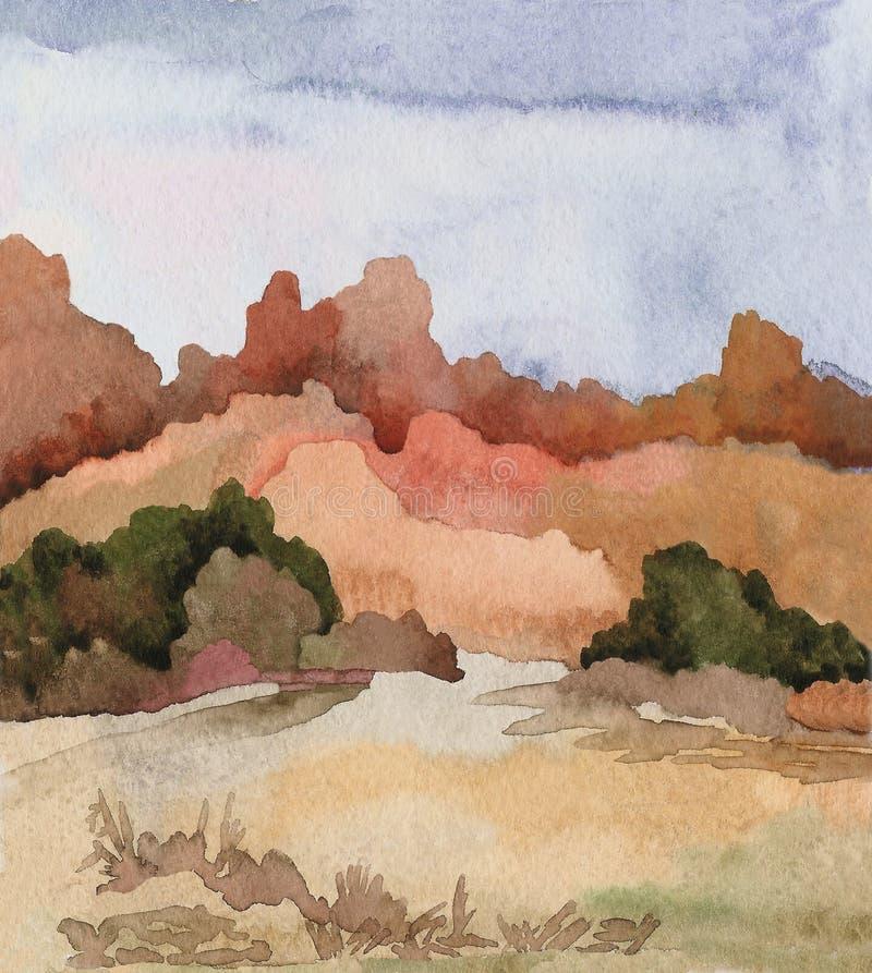 Landskap av amerikanska prärier med vegetation västra wild royaltyfri illustrationer