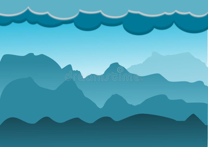 Landskap av berget och kullen med röd himmel royaltyfri illustrationer