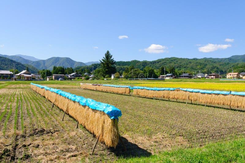 Landskap av den Achi byn i sydliga Nagano, Japan fotografering för bildbyråer
