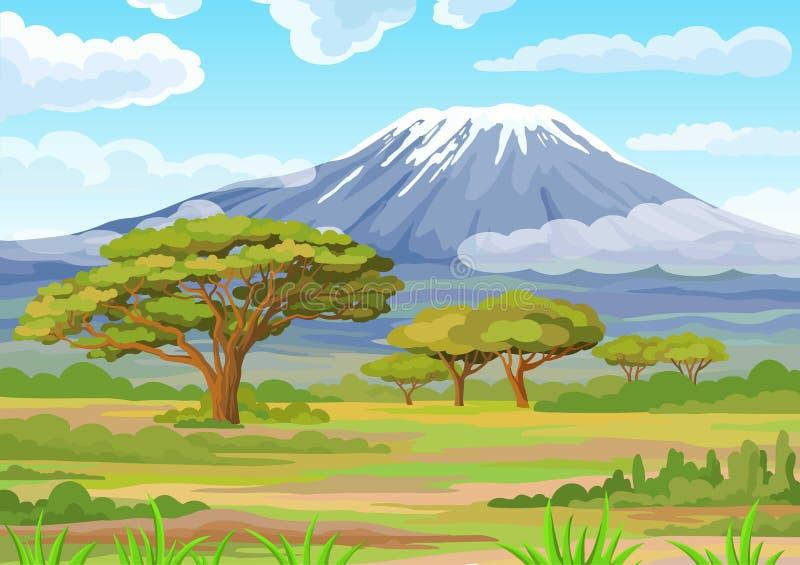 Landskap av den afrikanska savannet också vektor för coreldrawillustration stock illustrationer