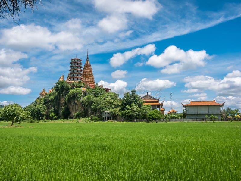 Landskap av den frodiga gr?na risf?ltet och omgeende berg p? templet f?r grotta f?r Wat Thum Sua tempeltiger fotografering för bildbyråer