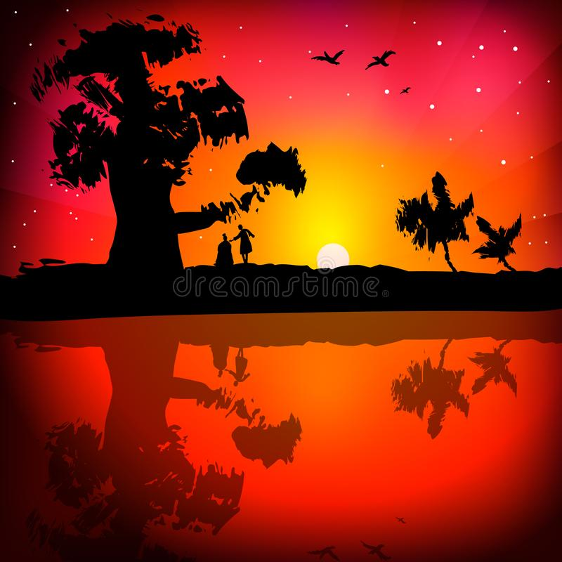 Landskap av den härliga solnedgången vibrerande r?d solnedg?ng f?r f?rgliggande royaltyfri illustrationer