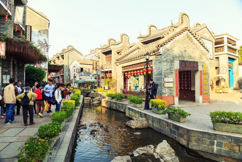 Landskap av den kinesiska forntida staden, östlig asiatisk kinesisk traditionell stad i klassisk stil i Kina arkivbilder