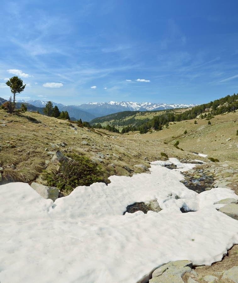 Is- landskap av den Madriu-Perafita-Claror dalen arkivfoton