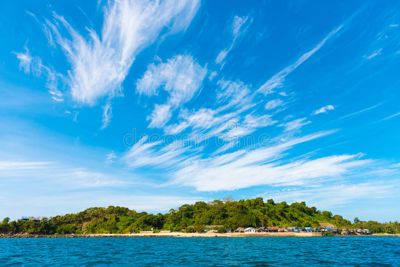 Landskap av den Ngapali stranden, Myanmar Kopiera utrymme för text royaltyfri fotografi