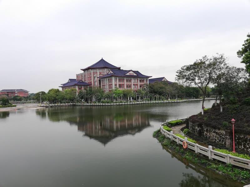 Landskap av den shunde universitetsområdet av det medicinska universitetet för södra Kina arkivfoto