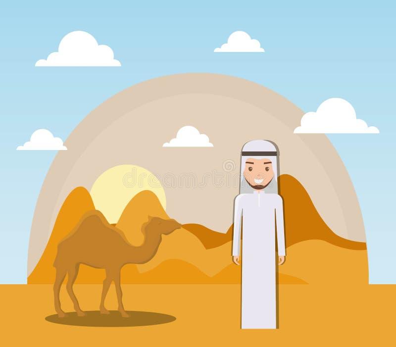 Landskap av den torra öknen med kamel royaltyfri illustrationer