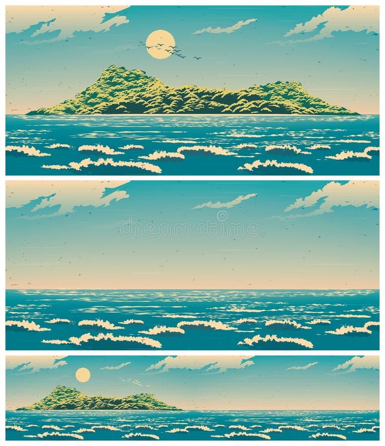 Landskap av det öppna havet med den retro affischen för ö royaltyfri illustrationer