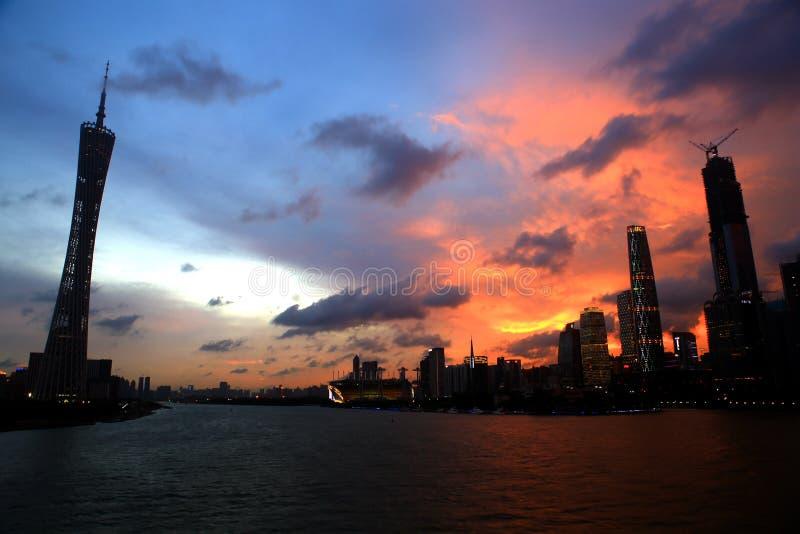 Landskap av det Guangzhou tornet royaltyfri fotografi