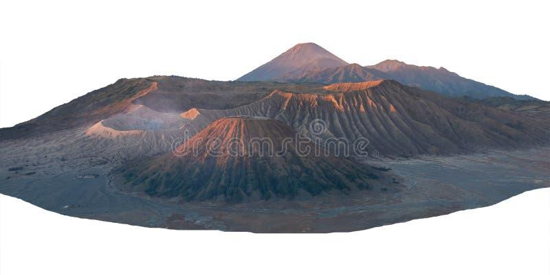 Landskap av det maximala Bromo berget som isoleras på vitt med urklippbanan royaltyfria bilder