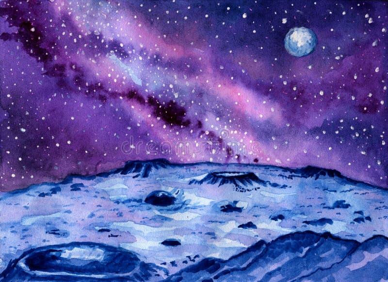 Landskap av en avlägsen planet med en galax och ett stjärnklart utrymme Den blåa planetens yttersida täckas med krater och vaggar royaltyfri illustrationer