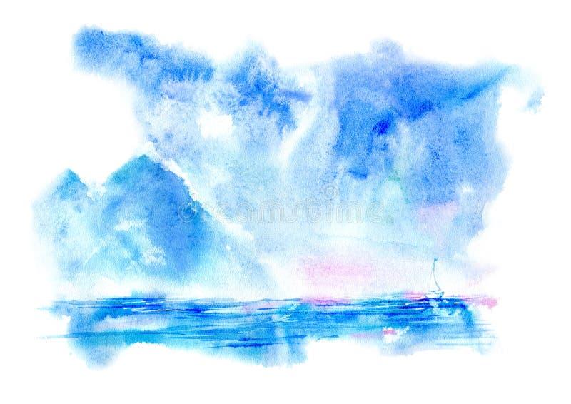 Landskap av ett hav, ett berg och ett seglingskepp royaltyfri illustrationer