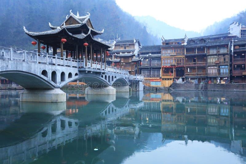 Landskap av kinesisk historisk town arkivfoton